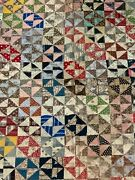 """Vintage Antique Multi Color Hour Glass Quilt Hand Made Stitched 68"""" X 73"""