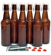 New 6 Count Amber Glass 16oz Beer Bottles With Swing Caps And Labels