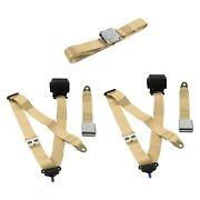 Safetboy Stbd0d78 3-point Airplane Buckle Retractable Bench Seat Belts Tan