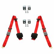 Safetboy 3-point Airplane Buckle Retractable Bucket Seat Belts W Bracketry Red