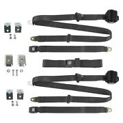 3-point Standard Buckle Retractable Bench Seat Belts W Bracketry Charcoal