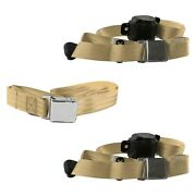 For Chevy Impala 58 3-point Airplane Buckle Retractable Bench Seat Belts Tan