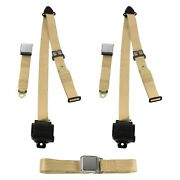 For Ford Gt40 64-69 3-point Airplane Buckle Retractable Bench Seat Belts Tan