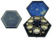Set Of 6 Victorian Silver Salts With Spoons 1869