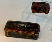 Pair Antique Tortoiseshell Trinket Snuff Boxes Mother Of Pearl Inlay 19thc