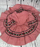Vintage Carol Evans Full Circle Red Checkered Dress With Floral Border