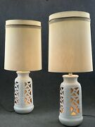 Mid Century Brutalist Modern Sunset Cosco White Lava Cut Out Table Lamps