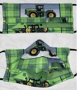 Homemade Adult John Deere Tractor Green Plaid Face Mask W/ Nose Wire