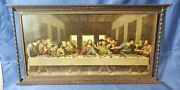 Antique Bronze Picture Frame Of Last Supper With Pillars 16 X 8.5