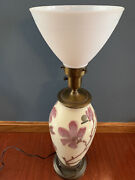 Vintage 1950and039s Rookwood Magnolia Branches Jewel Porcelain Art Pottery Lamp