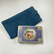 F642 Antique 1800's Trinket Jewelry Box Art Collectible Sterling Silver Enamel