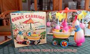 Vintage Celluloid And Tin Momma And Baby Bunny Carriage Wind-up With Box Excellent