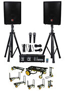 Rockville Rpg2x10 Pa System Mixer/amp+10 Speakers+stands+mics+bluetooth+cart