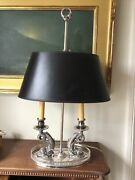 Antique Vintage French Silver Plate Dolphin Bouillotte Lamp New Shade