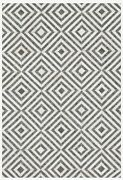 Modern 7and0399x9and0399 Leather Hide And Wool Hand Stitched Geometric Grey Ivory Area Rug