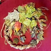 Door Wreath Sparkly Fronds W/ Silk Leaves And Flowers Woven Straw Accents - 9