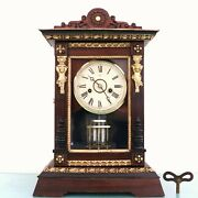 Junghans Mantel Clock Antique 1900-1910 Germany Gong Chime Restored And Serviced