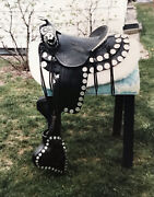 Black Parade Saddle With Silver Coin Decoration