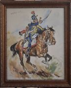 Pal Fried Large Oil Painting On Canvas Original French Hussard