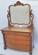 Vtg Victorian Large Tiger Oak American Dresser Chest With Mirror Circa 1900and039s