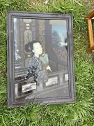 """Chinese Framed Inside Revised Glass Painting Of A Court Lady With Fan 30 """" H"""