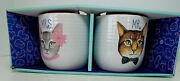 Mr. And Mrs Cat Face Mugs New Never Used In Original Box Excellent Condition