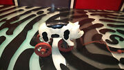 Pig Wooden Toy Pull Rolling Folk Art Vintage Good Condition Cow Markings Rare