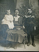 Cabinet Card 2 Children With Lovely Mother Baird Studio Astoria Il Illinois
