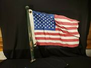 Vintage 19 Wood And Flag And Pole Chrome Base Post Wooden Boat Sailboat Ship Marine