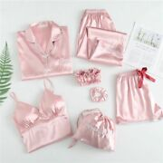 Silk Stain Pajama Set With Chest Pad Sling Shorts Long Sleeve Pants Womenand039s Wear