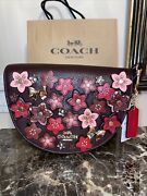 Coach Tea Rose Leather Mixed Colors Gold Studded Floral Bag Charm Key Chain Fob