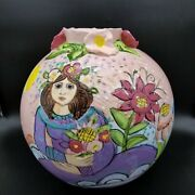 Sue Bolt Pottery Charlevoix Mi Large 11.5 Pink Vase Woman With Flowers Chip