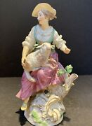 """Meissen 18c Porcelain Figurine Of Woman And Sheep 9"""" High Tiny Flaws"""