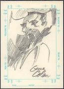 Dracula Drawing On Sketchagraph Card - Signed Art By Gene Colan
