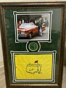 Arnold Palmer Beautiful Framed Signed Masters Flag With Photo And Patch