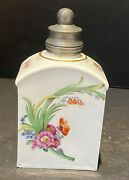 """Meissen 18th Century Porcelain Bottle With Silver Top 5"""""""