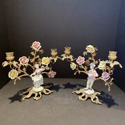 Meissen 18c Porcelain And Brass Candle Holders 10andrdquo And 11andrdquotall