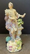 """Meissen 18th C Porcelain Woman With Wheat Figurine 9.5"""" Tall"""