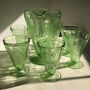 Poinsettia Pitcher And 6 Footed Tumblers Jeanette Green Vaseline Depression Glass