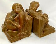 Rookwood Brown Reader Woman Reading 2184 Bookends C1916 Ernest Haswell