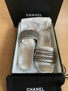 Auth Cc Leather Chain Slide Sandals Size 39 Silver New From Japan F/s