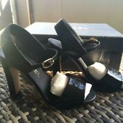 Auth Cc Slingback Patent Leather Sandals Sz35.5 Black Used From Japan F/s