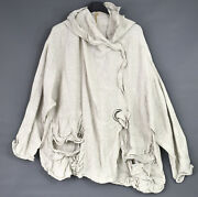 Plus Size Oatmeal Linen Relaxed Jacket By Barbara Speer - One Size