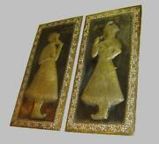 Antique India Mughal Empire Huge Pair Brass Plaques Of Emperor Shah Jahan And Wife