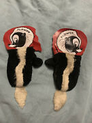 Rare Disney Productions Vintage Warm Mittens Gloves Flower Skunk And Tail Rare