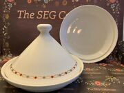 Hall Usa Ceramic Moroccan Arabic Footed Tagine Bowl Lid And 2 Platters Set Euc