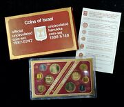 Coins Of Israel 1987 Official Uncirculated Set And 1988 Hanukka Coin Set