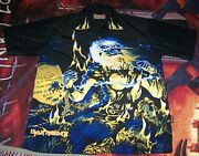 Vintage Iron Maiden Live After Death Dragonfly Button Dress Collar Shirt Size L