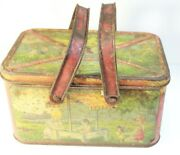 Vintage Tin Picnic Basket Toy - Kids Playing - With Handles - Lunch Box