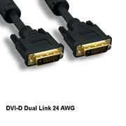 25ft Dvi-d 24+1 Video Cable 24awg Digital Dual Link Goldplated Connector Display